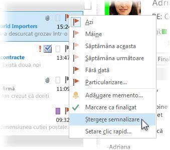 Comanda Ștergere semnalizare din meniul cu clic cu butonul din dreapta în lista de mesaje