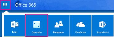 Lansatorul de aplicații, cu butonul calendar evidențiată