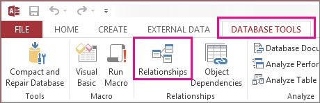 Butonul Relații pe fila Instrumente bază de date