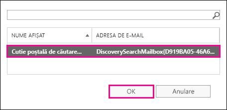 Copiați rezultatele căutării în cutia poștală de căutare de descoperire implicită