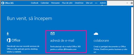 Pagina de întâmpinare, afișând dala adresei de e-mail