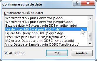 Caseta de dialog Confirmare sursă de date