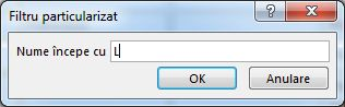 """Caseta de dialog filtru particularizat cu litera """"L"""" introdusă."""