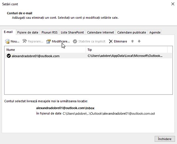 Modificarea setărilor contului de e-mail