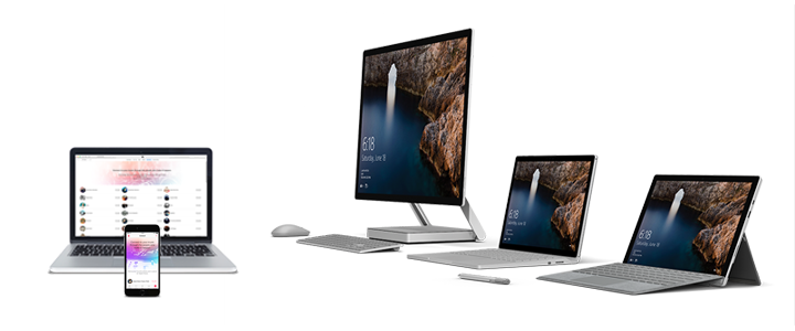 A photo of four Surface models