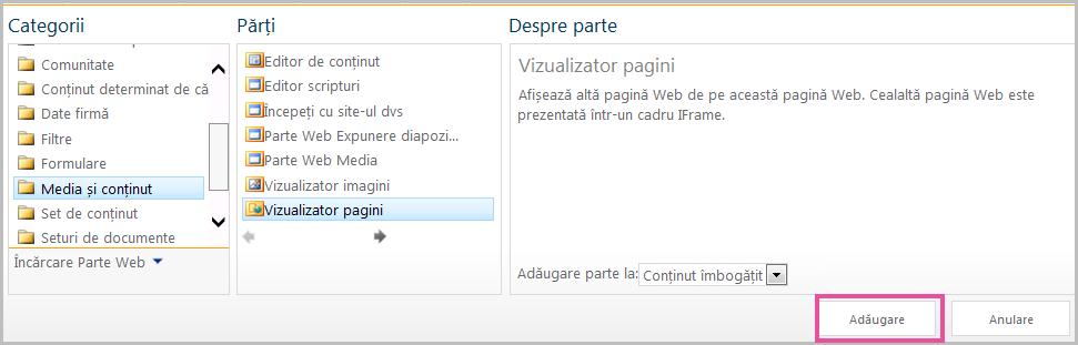 Adăugarea unei părți web