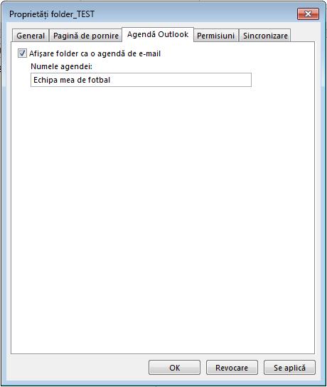 """Asigurați-vă că este bifată caseta de selectare """"Afișare folder ca o agendă de e-mail""""."""