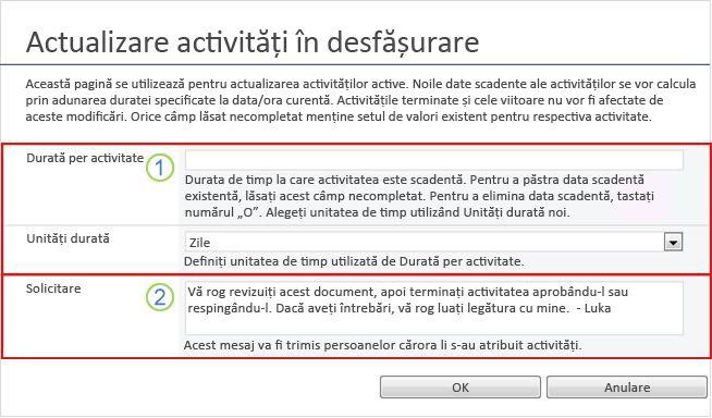 Formular de modificare pentru activități active