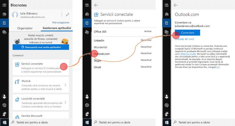 Captură de ecran cu Cortana deschisă în Windows 10 și meniul servicii conectate deschis.