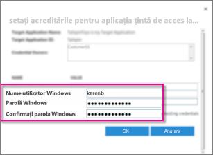 Captură de ecran care afișează dialogul Câmpuri acreditări pe care îl vedeți atunci când creați o aplicație țintă de stocare securizată. Acesta afișează valorile implicite, Numele utilizator Windows și Parola Windows.