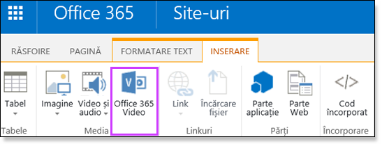 Office 365 Video încorporarea unui fișier Video