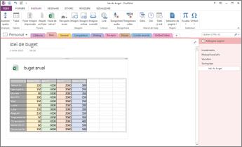 Prezentare generală a unei foi de calcul Excel într-o pagină din OneNote