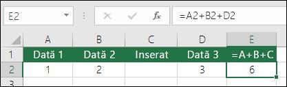 Formulele = A + B + C nu se actualizează dacă adăugați rânduri