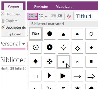 Captură de ecran cu adăugarea de marcatori pe o pagină din OneNote 2016.