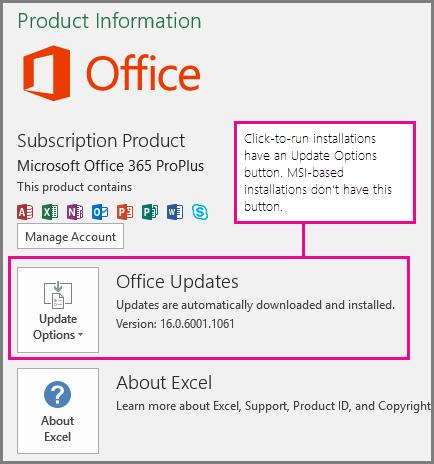 Instalările Clic și Pornire au un buton Opțiuni actualizare pe pagina Cont. Instalările bazate pe MSI nu au acest buton.