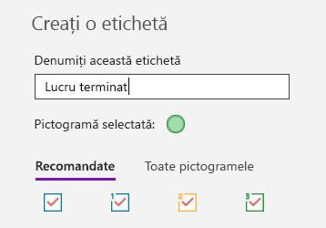 Crearea de etichete particularizate în OneNote pentru Windows 10