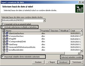 Selectarea mai multor tabele caseta de selectare activare