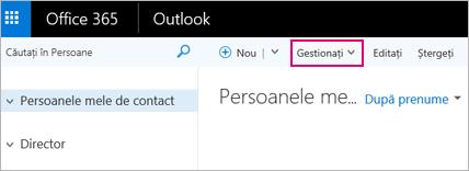 O imagine cu aspectul paginii Persoane din Outlook pe web
