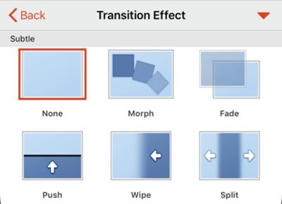 Opțiuni pentru efectul de tranziție.