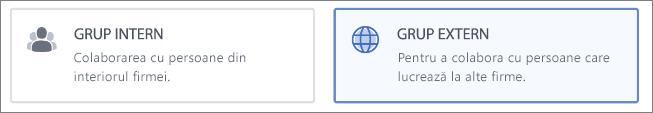 Captură de ecran care arată că puteți alege să creați un grup intern sau extern