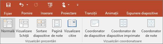 Afișează meniul Vizualizare din PowerPoint