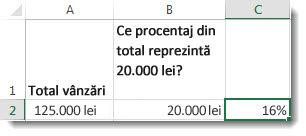 125.000 lei în celula A2, 20.000 lei în celula B2 și 16% în celula C2
