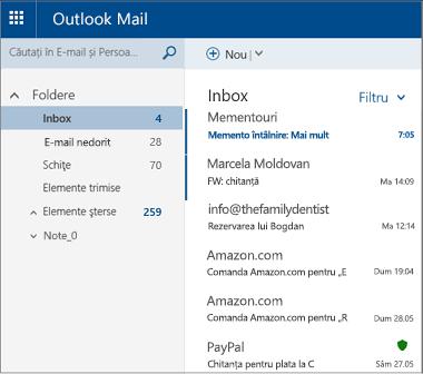 Ecranul principal Outlook.com sau Hotmail.com
