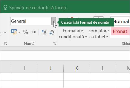 Caseta listă Format de număr