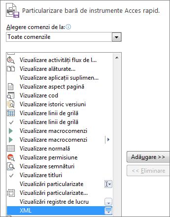 În lista de comenzi, alegeți XML, apoi faceți clic pe Adăugare.