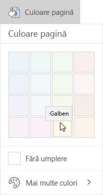 Opțiunile culoare pagină în OneNote pentru Windows 10