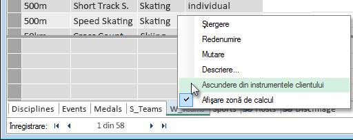 cum să ascundeți tabele din instrumente client Excel