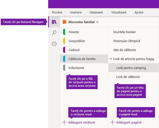 Secțiuni și pagini din OneNote pentru Windows 10