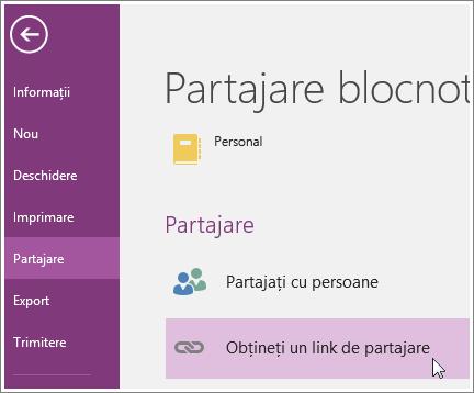 Captură de ecran a interfeței cu utilizatorul Obțineți un link de partajare din OneNote 2016.
