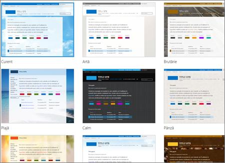 Pagina de selectare a șablonului Office 365, care arată șabloane opționale pentru aspectul și tema  site-ului public