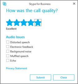 Captură de ecran cu dialogul de evaluare a calității apelului