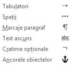 Acestea sunt caracterele de formatare disponibile în mesajele de e-mail.