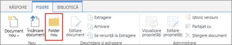 Imagine a panglicii fișiere SharePoint cu un Folder nou evidențiată.