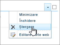 Ștergerea unei părți de aplicație în meniul de setări a parte de aplicație