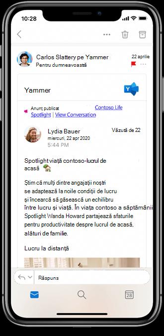 Lucrul cu Yammer din aplicațiile mobile Outlook