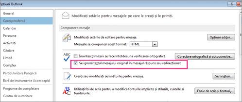 setare de opțiune pentru a ignora verificarea ortografică a textului inițial din mesajele de răspuns și redirecționate