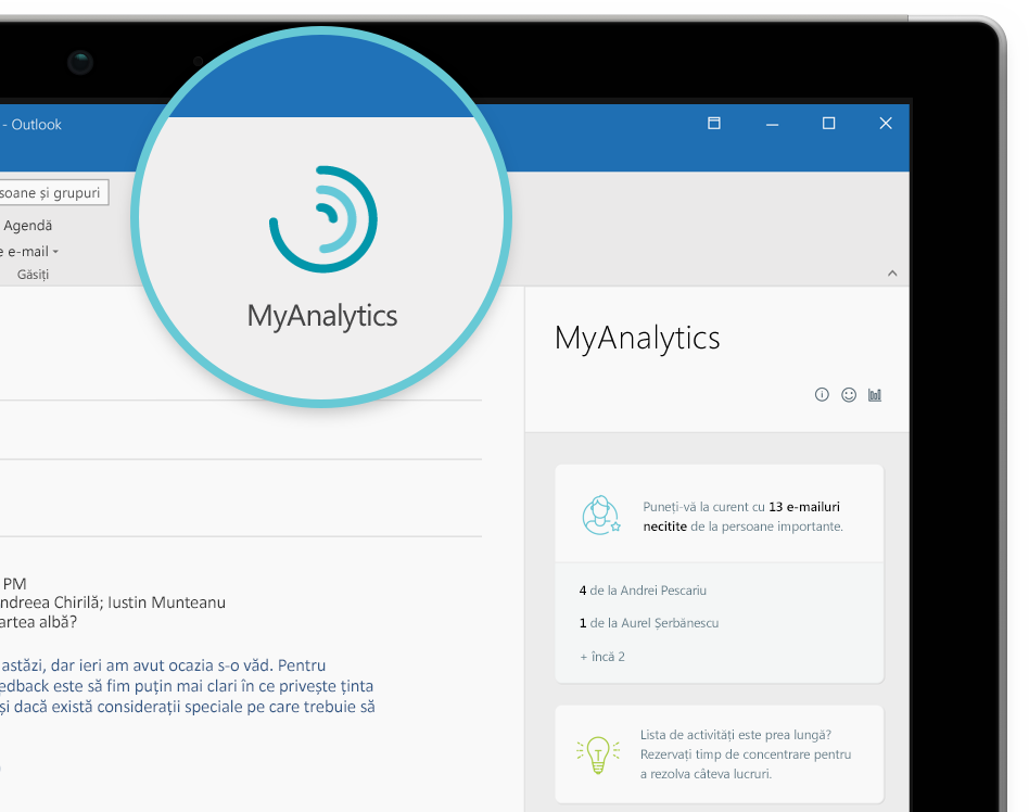 Captură de ecran a MyAnalytics panoul sigla și navigare