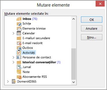 Faceți clic pe Activități în folderul Elemente șterse