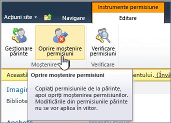 Faceți clic pe Oprire moștenire permisiuni pentru a aplica permisiuni unice