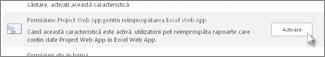 Permisiune Project Web App pentru reîmprospătarea Excel Web App