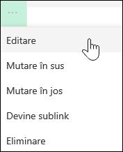 Editarea unui link în meniul din stânga