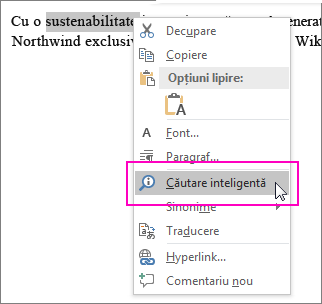 Căutarea inteligentă este evidențiată atunci când faceți clic dreapta pe un text sau pe o imagine