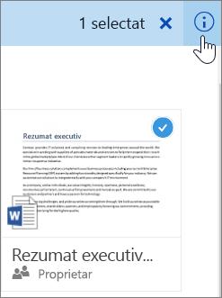 Captură de ecran cu selectarea unui element și efectuarea unui clic pe pictograma informații