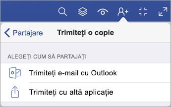 Trimiteți o copie meniu care afișează două opțiuni de cum să partajați un fișier - prin e-mail cu Outlook sau trimiteți cu altă aplicație.