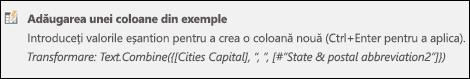 Coloana Combinare în Power Query din exemplul de formulă pentru coloane particularizate
