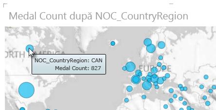 Treceți cu mouse-ul pe deasupra datelor din hărțile Power View pentru mai multe informații
